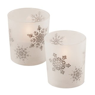 """Set of 2 Battery Operated White Snowflakes Design Frosted Glass with LED Candle 3.75"""""""
