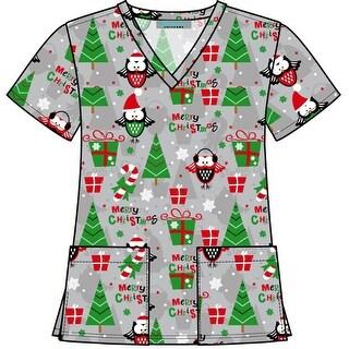 V-Neck Christmas Holiday Themed Print Scrub Top
