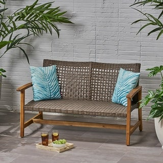 Hampton Outdoor Wood and Wicker Loveseat by Christopher Knight Home