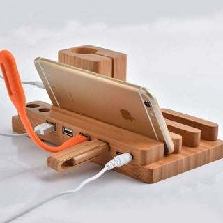 USB Charger with Apple Watch & Phone Organizer Stand,Cradle Holder,Desktop Bamboo Wood Charging Station for iPhone