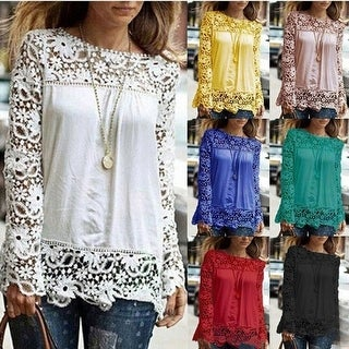 Women Sheer Sleeve Embroidery Lace Crochet Chiffon Shirt