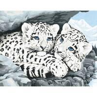 """Paint Works Paint By Number Kit 14""""X11""""-Snow Leopard Cubs"""