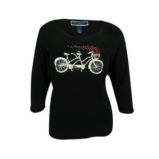 Karen Scott Women's Embellished Bicycle Print Top - Deep Black