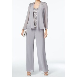 SLNY Gray Silver Women's Size 10 Sequinced Chiffon 3PC Pant Sets