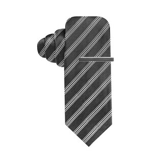 Alfani Red Label Bling Stripe Skinny Neck Tie With Clip Black and Grey - One Size Fits most