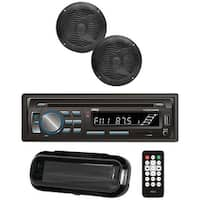 "Marine Single-DIN In-Dash CD AM/FM Receiver with Two 6.5"" Speakers, Splashproof Radio Cover & Bluetooth(R) (Black)"