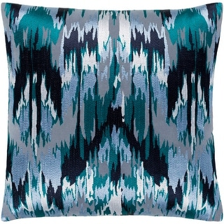 "Link to Virgil Grey & Blue Embroidered Ikat Poly Fill Throw Pillow (20"" x 20"") Similar Items in Decorative Accessories"