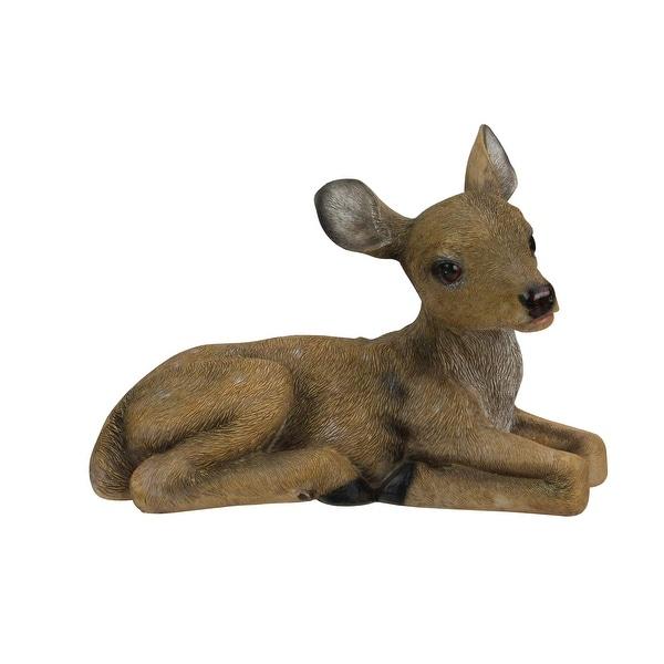 "Set of 2 Winter Woods Resting Fawn Deer Christmas Table Top Figures 6.5"" - brown"