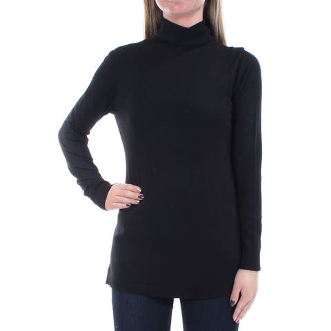 KENSIE Womens Black Pleated Long Sleeve Turtle Neck Sweater Size: S