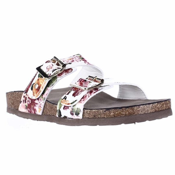 madden girl Brando Comfort Slide Sandals, White Multi