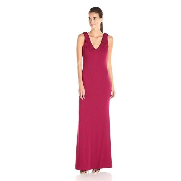Nicole Miller Stretch Crepe Bow Shoulder V Neck Evening Gown Dress Berry