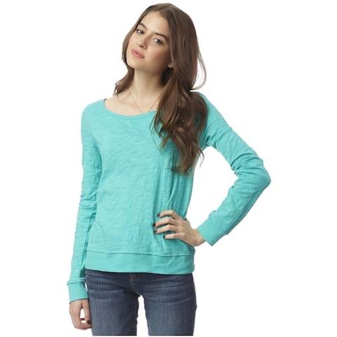 Aeropostale Womens Ls Crochet Back Basic T-Shirt