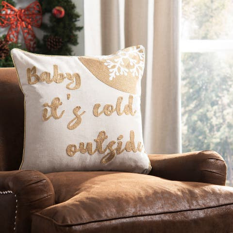 SAFAVIEH Holiday Cold Outside Beige/Gold 18-inch Decorative Pillow