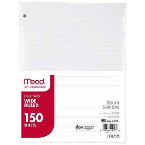 Mead notebook paper wide ruled 150ct 15103