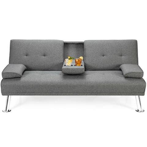 Gymax Convertible Folding Futon Sofa Bed Fabric w/2 Cup Holders - See Details