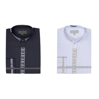 Link to Men's Collarless Banded Collar Dress Shirt with Cross Embroidery Similar Items in Shirts