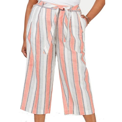 Tommy Hilfiger Women's Casual Pants White Size 1X Plus Striped Belted