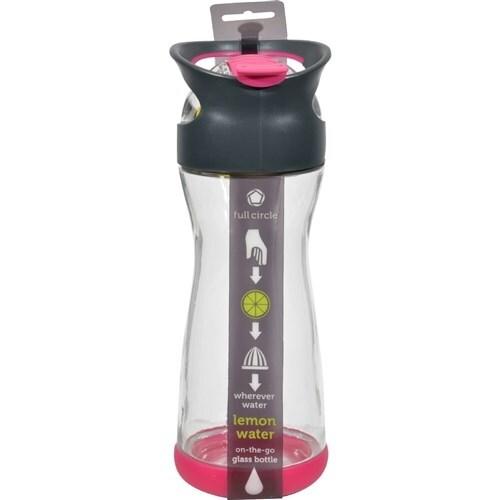 """""""Full Circle Home On the Go Lemon Glass Water Bottle - Raspberry Water Bottles"""""""