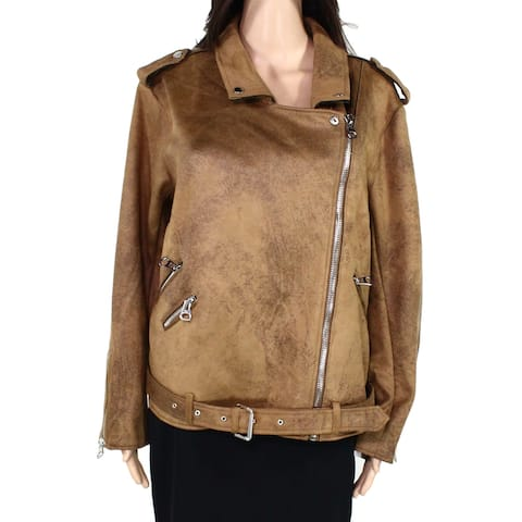 Dex Womens Moto Jacket Brown Size 1X Plus Faux Vegan Leather Full-Zip