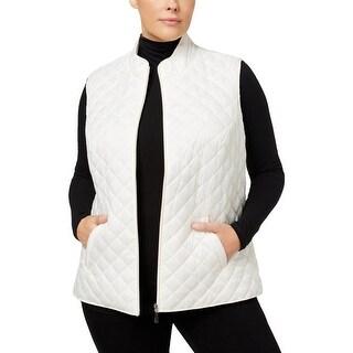 Karen Scott Sports Womens Plus Vest Fall Puffer