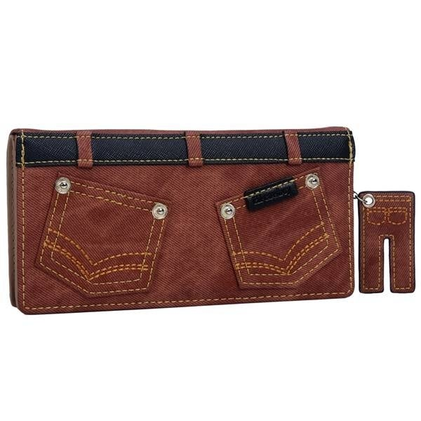Mad Style Brown Denim Pants Flat Wallet