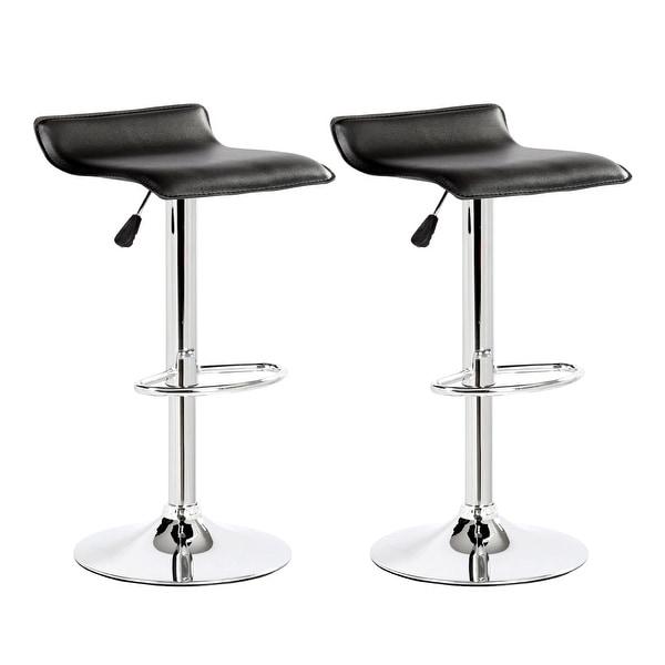 Modern Set of 2 White Leather Bar Stools Adjustable Swivel Hydraulic Pub Chair