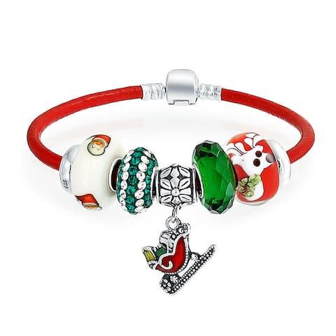Christmas Santa Sleigh Bead Charm Bracelet Red Leather Sterling Silver
