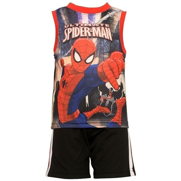 Baby Boys Red Black Ultimate Spiderman 2 Pc Shorts Set 12M