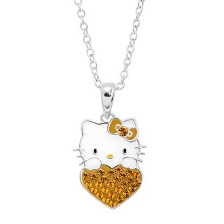 Girl's Hello Kitty November Heart Pendant with Crystals in Sterling Silver-Plated Brass