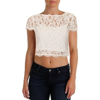 Adrianna Papell Womens Crop Top Lace Cap Sleeves