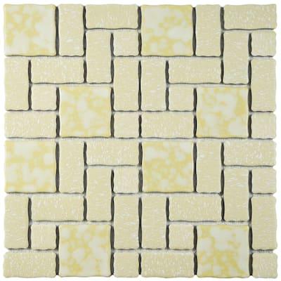 "SomerTile Academy Gold 11.75"" x 11.75"" Porcelain Mosaic Tile"