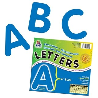 Pacon Self-Adhesive Reusable Letter, 4 in, Blue, Pack of 78
