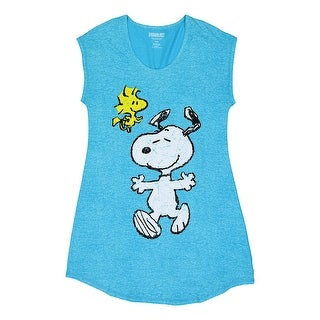 Peanuts Women's Snoopy and Woodstock Sleep Shirt - Blue Tunic-Cut Novelty Top