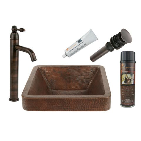 Premier Copper Products BSP1_VSQ15SKDB Vessel Sink, Faucet and Accessories Package