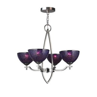 "Woodbridge Lighting 16414-M60 Alexis 4 light 26"" Wide Single Tier Shaded Chandelier with Mosaic Glass Shades"
