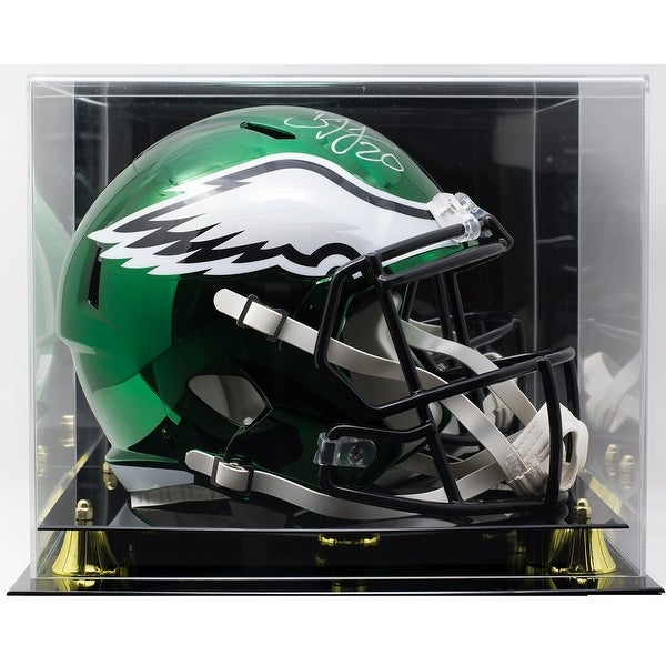 738eb6fa842 Brian Dawkins Signed Eagles FS Riddell Chrome Replica Helmet JSA w/ Display  Case