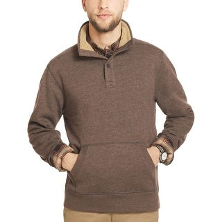 G.H. Bass and Co. Pine Ridge Fleece Mock Neck Sweater Bark Brown Small S