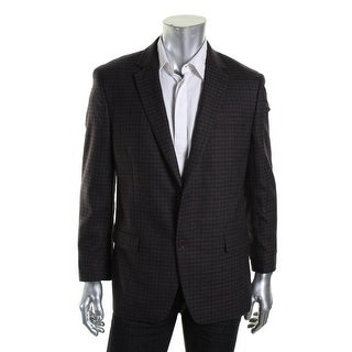 Shaquille O'Neal Mens Wool Checkered Two-Button Blazer
