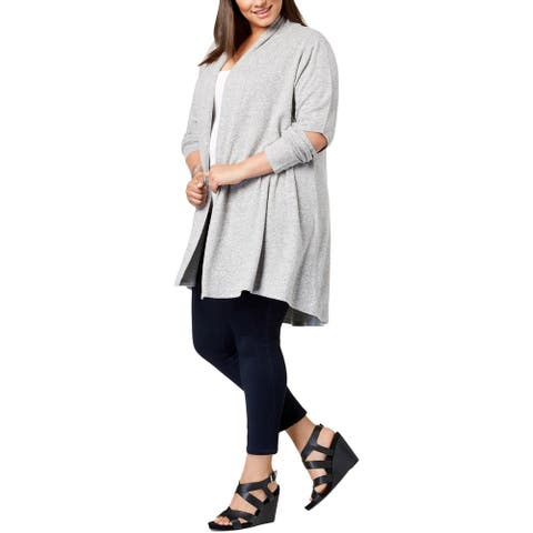 Love Scarlett Womens Duster Sweater Cold Elbow Layering - Black/White - 3X