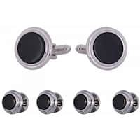 Onyx Step Silver Cufflinks and Studs