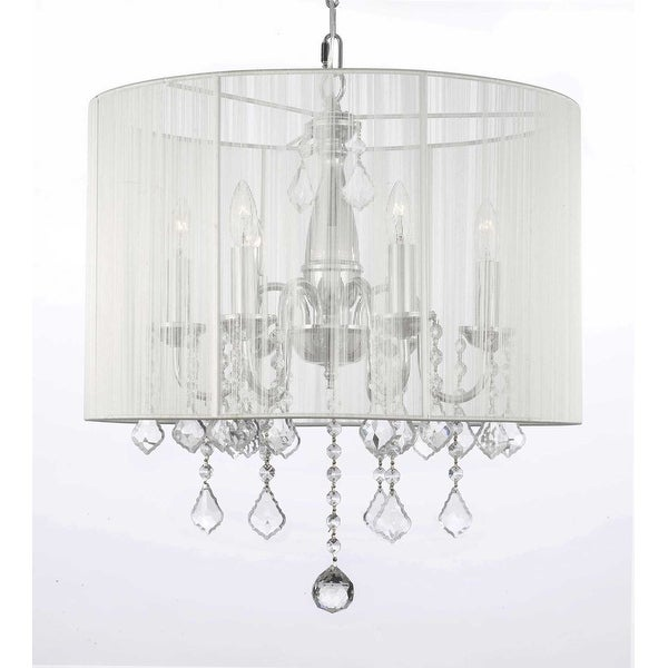 Crystal Chandelier Lighting With Large White Shade H19.5 x W18.5
