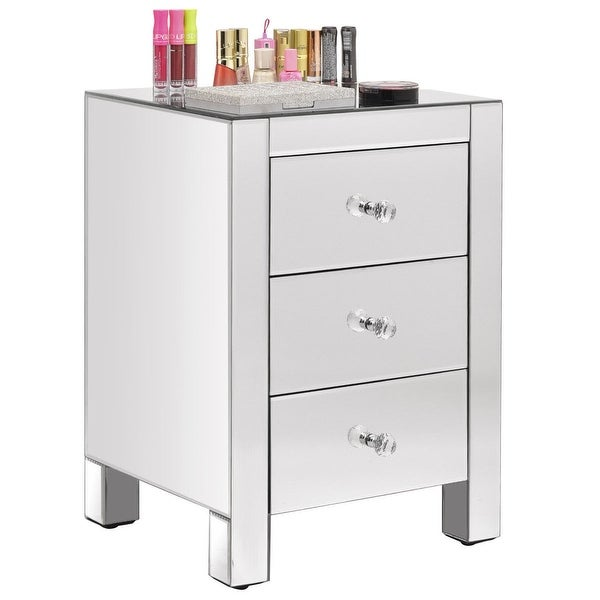 Costway Mirrored Nightstand 3 Drawer Modern Mirror End Table Storage Accent  Cabinet
