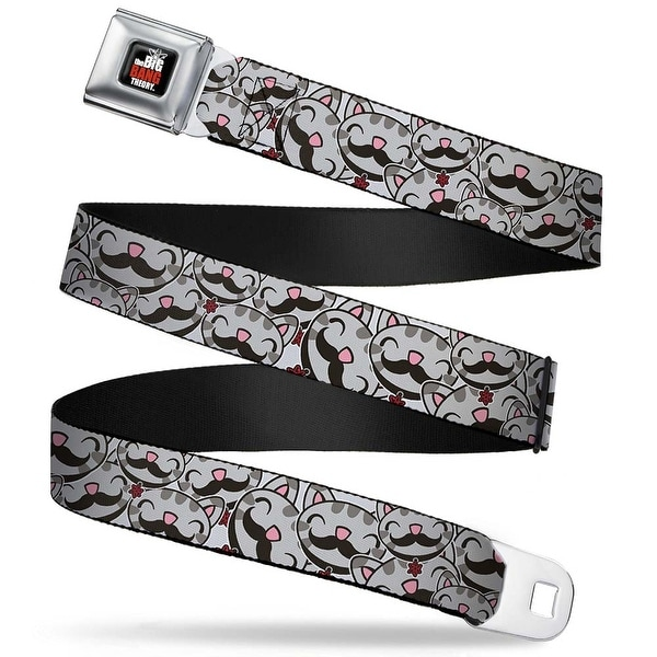 The Big Bang Theory Full Color Black White Red Soft Kitty Mustache Stacked Seatbelt Belt