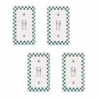 4 Porcelain Switch Plate Green Checkered Single Toggle