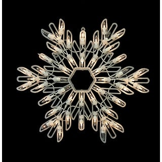 """15"""" Lighted Shimmering Snowflake Christmas Window Silhouette Decoration"""