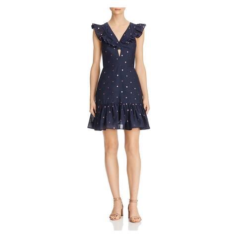 REBECCA TAYLOR Navy Cap Sleeve Mini Dress 6