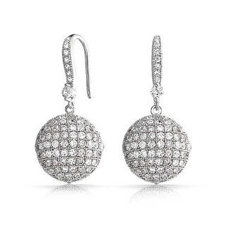 Bling Jewelry Large Disco Ball Cubic Zirconia Drop Earrings Rhodium Plated Brass