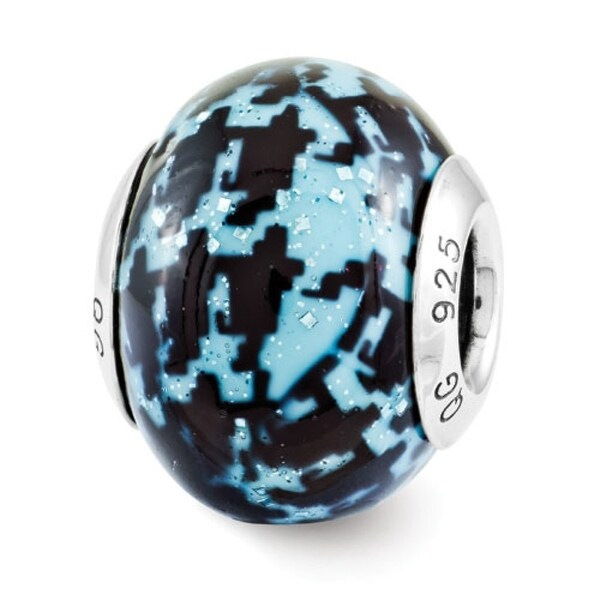 Italian Sterling Silver Reflections Blue & Black Overlay Bead (4mm Diameter Hole)