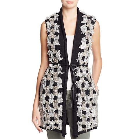 Nic+Zoe Black White Womens Size Medium M Sleeveless Vest Jacket
