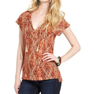 Lucky Brand Womens Juniors Peasant Top Pattern Tassel - M